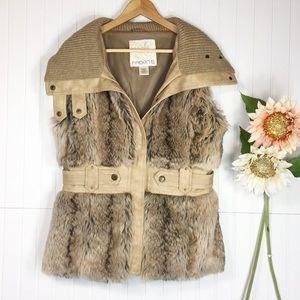 Arden B. | Belted Faux Fur vest